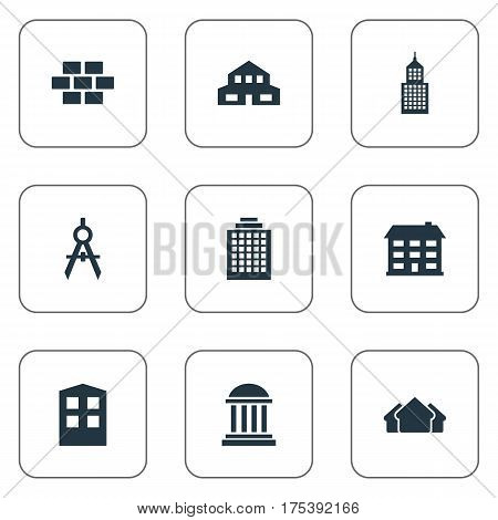 Vector Illustration Set Of Simple Construction Icons. Elements Shelter, Academy, Engineer Tool And Other Synonyms Three, House And Realty.