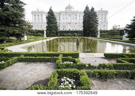 Madrid (Spain): the historic Royal Palace and the gardens