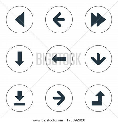 Vector Illustration Set Of Simple Arrows Icons. Elements Downwards Pointing, Left Landmark , Left Direction Synonyms Right, Ahead And Direction.