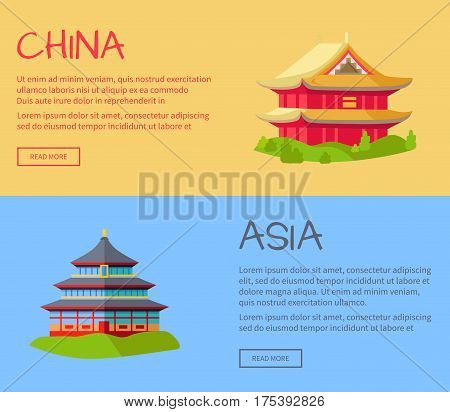 China Asia traditional kinds of houses on green grass web banners. Vector illustration of oriental buildings, national chinese dwellings in eastern style. Traditional oriental architecture