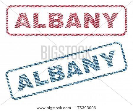 Albany text textile seal stamp watermarks. Blue, red fabric vectorized texture. Vector tag inside rounded rectangular banner. Rubber emblem with fiber textile structure.