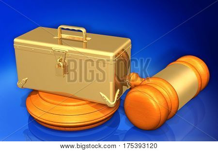 Tool Box Legal Gavel Concept 3D Illustration