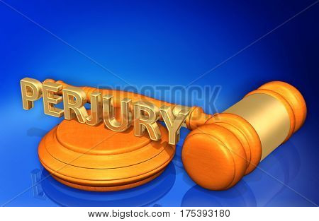 Perjury Legal Gavel Concept 3D Illustration