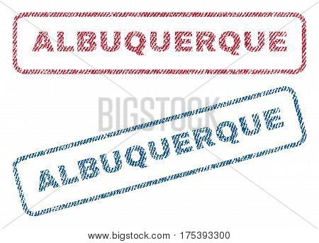 Albuquerque text textile seal stamp watermarks. Blue, red fabric vectorized texture. Vector caption inside rounded rectangular shape. Rubber sign with fiber textile structure.