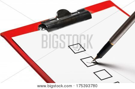 Marking in a Checkbox with Pen on the Sheet of Paper on the Clipboard - Isolated