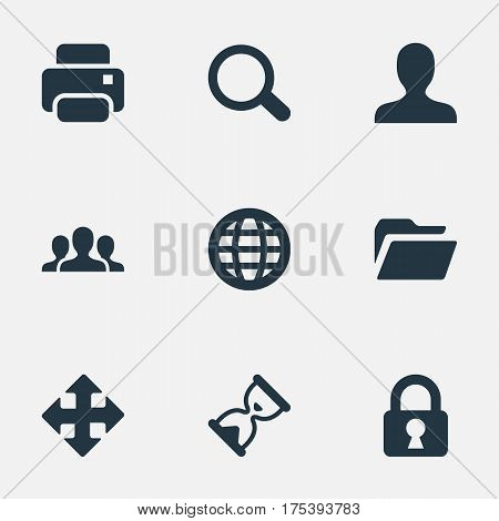Vector Illustration Set Of Simple Application Icons. Elements User, Lock, Arrows And Other Synonyms Printout, Human And File.