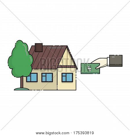 Icon symbolizing the contributions to the business case. Mortgage, real estate loan. Buying a property. Line art vector illustration