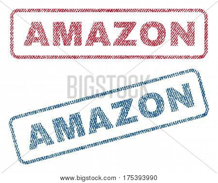 Amazon text textile seal stamp watermarks. Blue, red fabric vectorized texture. Vector tag inside rounded rectangular shape. Rubber sticker with fiber textile structure.