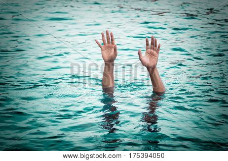 Drowning victims Hand of drowning man needing help