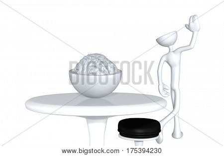 The Original 3D Character Illustration Walking Away With Brain Left Behind
