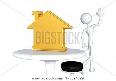 The Original 3D Character Illustration Walking Away From A Home