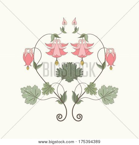 Element vector pattern in modern style. Aquilegia plants contain flowers buds and leaves. Pink and green. Make your pattern.