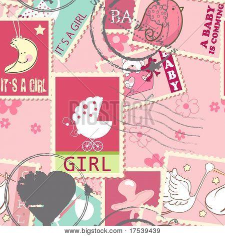 nahtlose Muster mit Baby Mädchen-Briefmarken