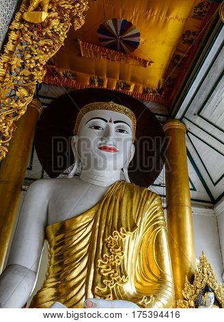 Buddha Statue At Main Hall In Shwedagon Paya