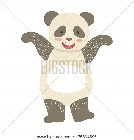 Panda Bear Cute Toy Animal With Detailed Elements Part Of Fauna Collection Of Childish Vector Stickers. Adorable Girly Friendly Zoo Cartoon Character Flat Vector Illustration.
