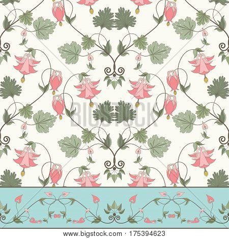 Seamless vector background and border. Vintage floral pattern in modern style. Aquilegia plants contain flowers buds and leaves.Pink and green.