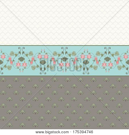 Abstract vector background. Two simple background and border. Vintage floral pattern in modern style. Aquilegia plants contain flowers buds and leaves.
