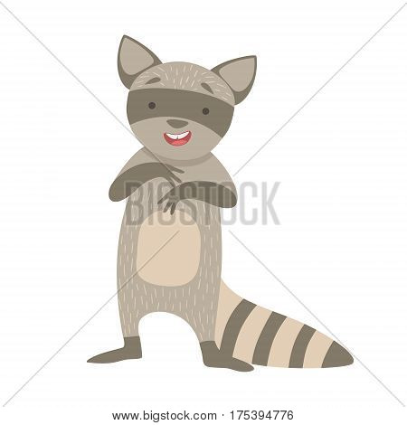 Raccoon Cute Toy Animal With Detailed Elements Part Of Fauna Collection Of Childish Vector Stickers. Adorable Girly Friendly Zoo Cartoon Character Flat Vector Illustration.