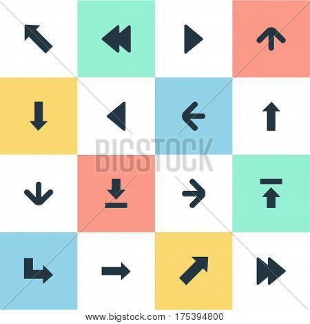 Vector Illustration Set Of Simple Indicator Icons. Elements Transfer, Let Down, Pointer And Other Synonyms Rearward, Forward And Right.
