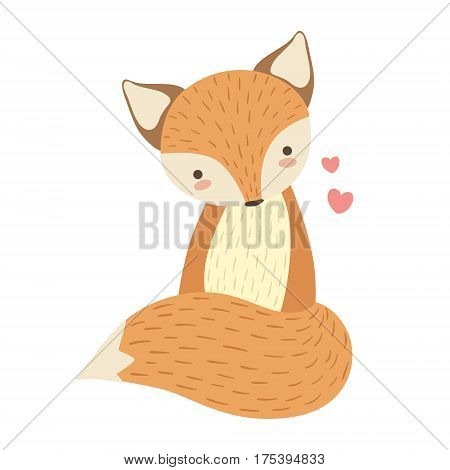 Red Fox Cute Toy Animal With Detailed Elements Part Of Fauna Collection Of Childish Vector Stickers. Adorable Girly Friendly Zoo Cartoon Character Flat Vector Illustration.