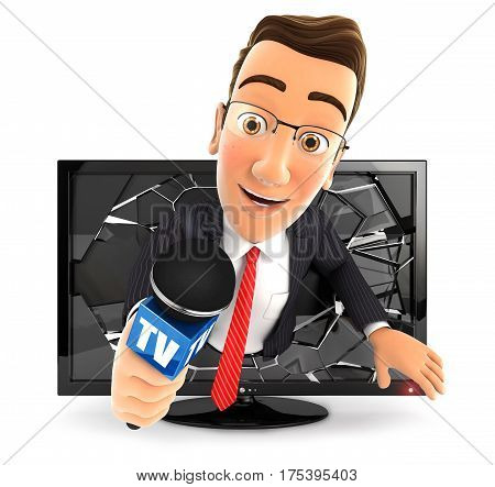 3d businessman with microphone coming out of television illustration with isolated white background
