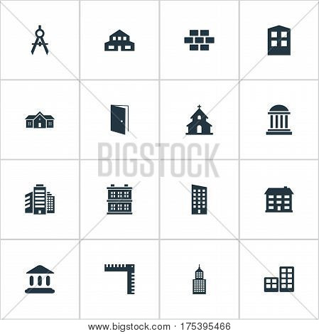 Vector Illustration Set Of Simple Structure Icons. Elements Residence, Popish, Structure And Other Synonyms Church, Door And Downtown.
