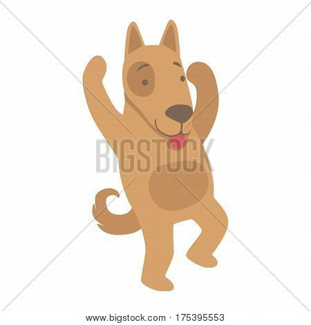 Dog Cute Toy Animal With Detailed Elements Part Of Fauna Collection Of Childish Vector Stickers. Adorable Girly Friendly Zoo Cartoon Character Flat Vector Illustration.