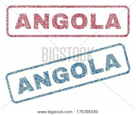 Angola text textile seal stamp watermarks. Blue, red fabric vectorized texture. Vector caption inside rounded rectangular banner. Rubber sticker with fiber textile structure.