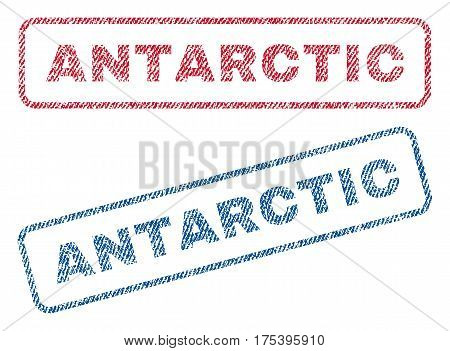 Antarctic text textile seal stamp watermarks. Blue, red fabric vectorized texture. Vector tag inside rounded rectangular banner. Rubber sign with fiber textile structure.