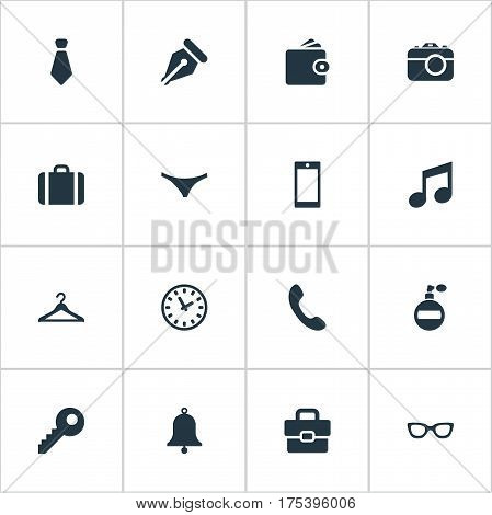 Vector Illustration Set Of Simple Instrument Icons. Elements Billfold, Underwear, Digital Camera And Other Synonyms Musical, Underwear And Diplomat.