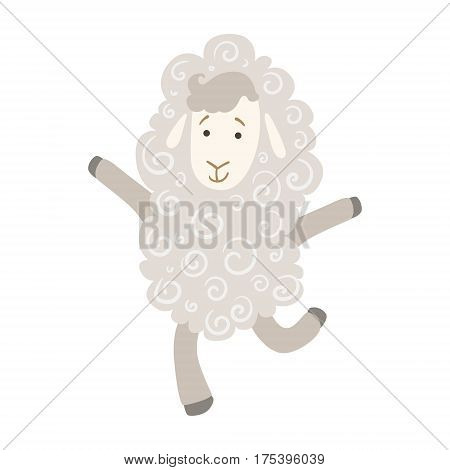 Sheep Cute Toy Animal With Detailed Elements Part Of Fauna Collection Of Childish Vector Stickers. Adorable Girly Friendly Zoo Cartoon Character Flat Vector Illustration.