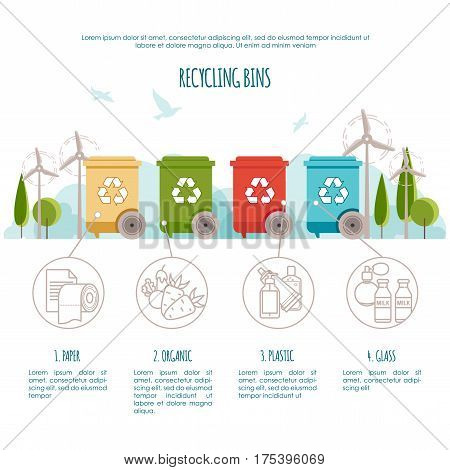 Recycle bins infographic. Waste management and recycle concept. Colored bins with waste types. Vector illustration for your design