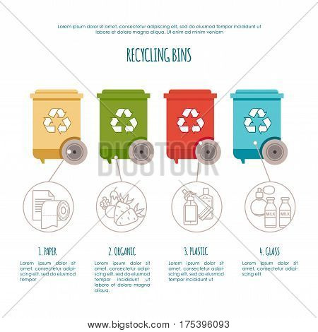 Recycle bins infographic. Waste management and recycle concept. Colored bins with waste types for your design