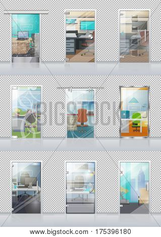 Transparent door set in checkered wall with view on study objects. Vector poster of glass doors and chairs, tables, computers, sofas, windows and other office equipments viewable through doors