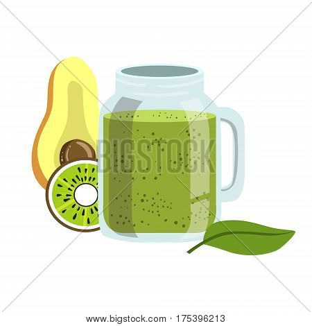 Avocado And Kiwi Smoothie, Non-Alcoholic Fresh Cocktail In A Glass And The Ingredients For It Vector Illustration. Infographic Recipe Of Healthy Vegan Breakfast Drink With Fresh Juices.