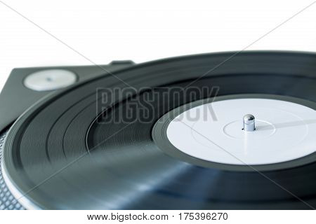 Vinyl Record in a Gramophone - Close Up