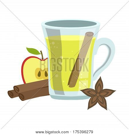 Apple, Cinnamon And Anise Smoothie, Non-Alcoholic Fresh Cocktail In A Glass And The Ingredients For It Vector Illustration. Infographic Recipe Of Healthy Vegan Breakfast Drink With Fresh Juices.