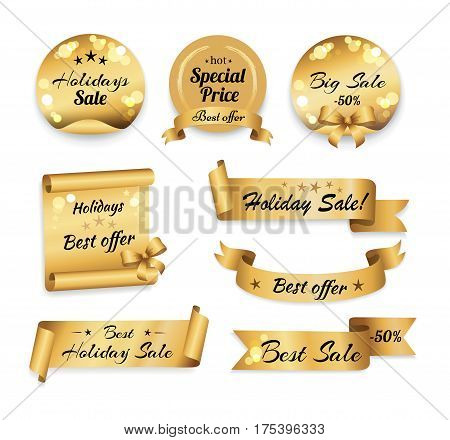 Holiday big best sale -50 and special prices banner. Golden labels in round, square and oblong shapes with designations on price reductions on white in flat style. Festive decorative sale tags