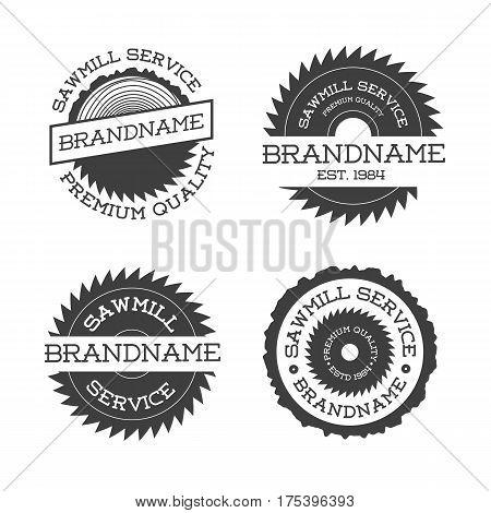 Set of sawmill logotype isolated on white background. Vector illustration