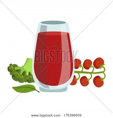 Tomato And Broccoli Smoothie, Non-Alcoholic Fresh Cocktail In A Glass And The Ingredients For It Vector Illustration. Infographic Recipe Of Healthy Vegan Breakfast Drink With Fresh Juices.
