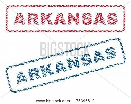 Arkansas text textile seal stamp watermarks. Blue, red fabric vectorized texture. Vector tag inside rounded rectangular banner. Rubber sticker with fiber textile structure.
