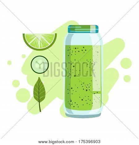 Lime And Cucumber Smoothie, Non-Alcoholic Fresh Cocktail In A Glass And The Ingredients For It Vector Illustration. Infographic Recipe Of Healthy Vegan Breakfast Drink With Fresh Juices.