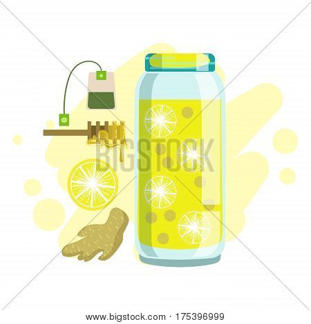 Lemon, Ginger, Honey And Tea Smoothie, Non-Alcoholic Fresh Cocktail In A Glass And The Ingredients For It Vector Illustration. Infographic Recipe Of Healthy Vegan Breakfast Drink With Fresh Juices.