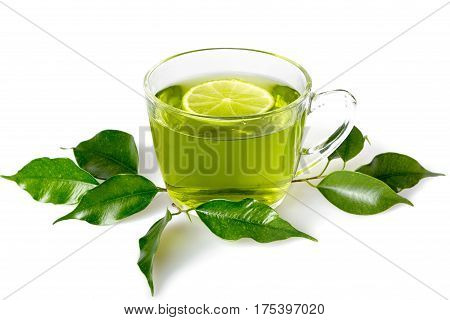 Green Tea Leaves and Green Tea in Cup with Lemon
