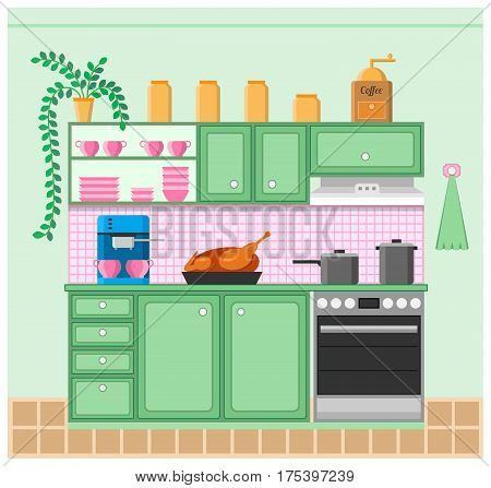 Interior of a Kitchen. Grinder, coffeemaker, roast duck, stove, pots, furniture and flower. Vector illustration.