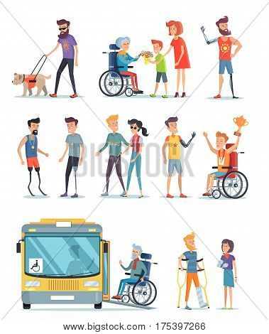 Disabled people and help for them poster on white. Assistance for blind boy and girl woman, boy and men on carriage people with artificial parts of body. Vector illustration of kind attitude