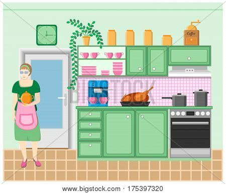Housewife in the kitchen. Grinder, coffeemaker, roast duck, stove, clock, pots, furniture, door and flower. Vector illustration.