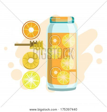 Citrus, Pineapple And Honey Smoothie, Non-Alcoholic Fresh Cocktail In A Glass And The Ingredients For It Vector Illustration. Infographic Recipe Of Healthy Vegan Breakfast Drink With Fresh Juices.