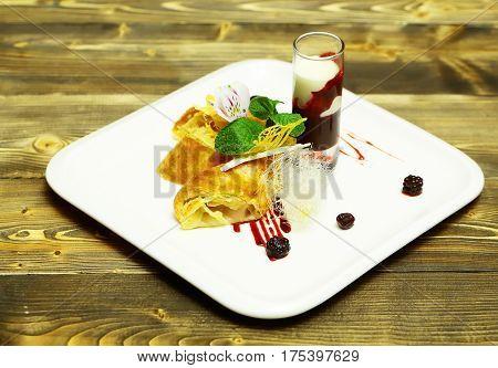 Delicious Cream Or Apple Strudel