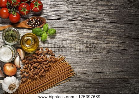 Mixed fresh healthy food on wooden background